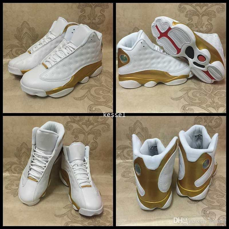reputable site 2d1e1 54fc4 2017 Hot 13 DMP Mens Basketball Shoes White Gold 13s XIII High Quality Men  98 Defining Moments Sports Trainers Sneakers Size 8-13