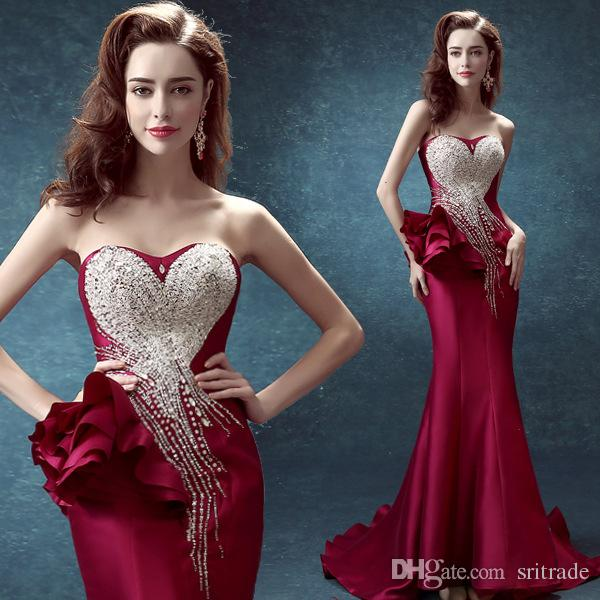 Rose Red Evening Dress Diamond Strapless Party Dress Mermaid Backless Long Night Dress Right Side With Flower Decoration Sexy Beauty Dresses