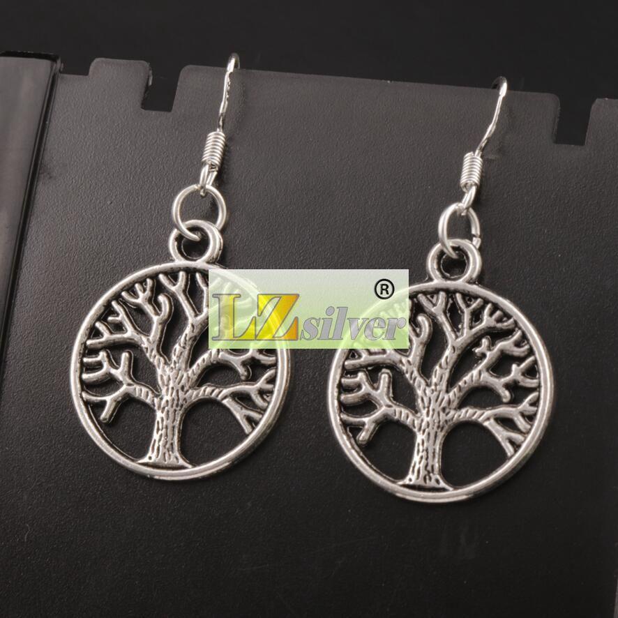 Árbol de la vida pendientes 925 gancho de oreja de pescado de plata 40 par / lote antiguo candelabro de plata E463 20x40 mm