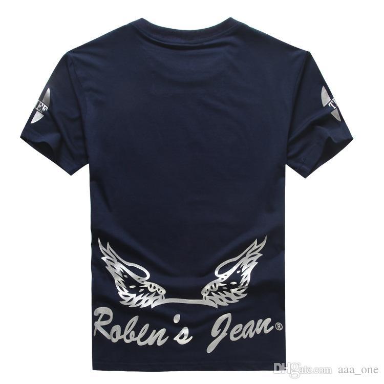 Quente! Tops Tees design de moda Robin calças de brim dos homens tshirts de algodão de manga curta camisas Robins T-shirts Plus-size 3XL