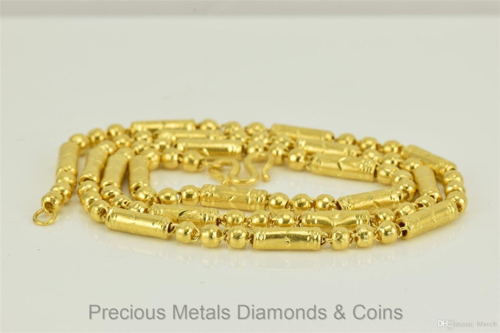 Großhandel Männer `s 24k .9999 Pure Gold Triple Bead Barrel ...