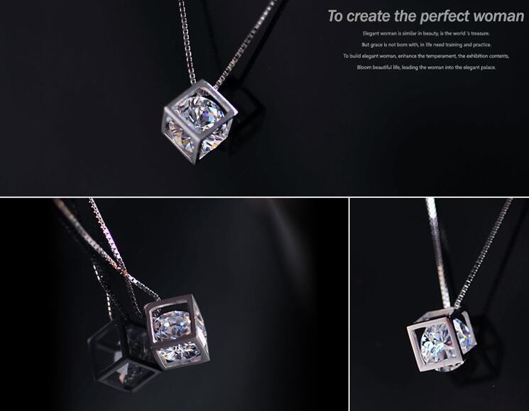 Mode 925 Sterling Silber Kette Halskette Österreich CZ Diamant Kristall Liebe Magie Würfel Quadratische Form Anhänger Halskette Für Frauen Hochzeit Geschenk