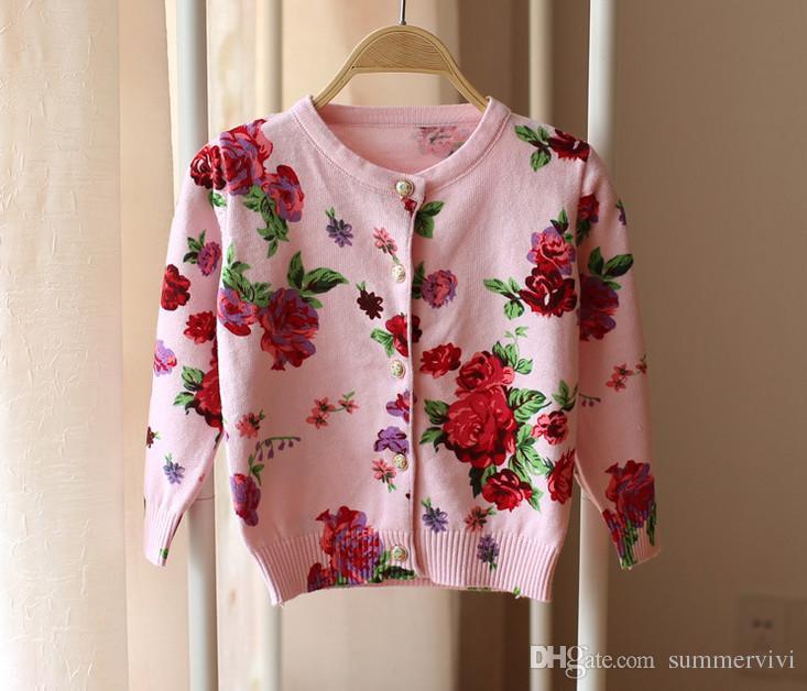 Baby Girls Sweater Coat Round Collar Floral Sweater Girls Cotton ...