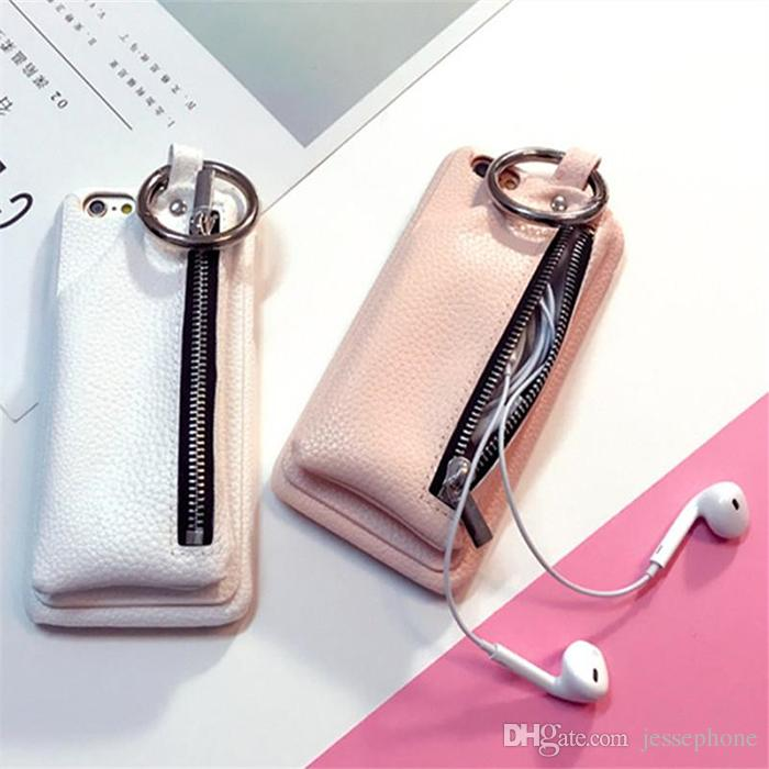 newest 4bfa9 1fe0b New for iPhone 7 Case Leather Wallet Luxury Zipper Girl Handbag Phone Case  for iPhone 7 6 6S Plus Ring Buckle Hard Back Cover DHL