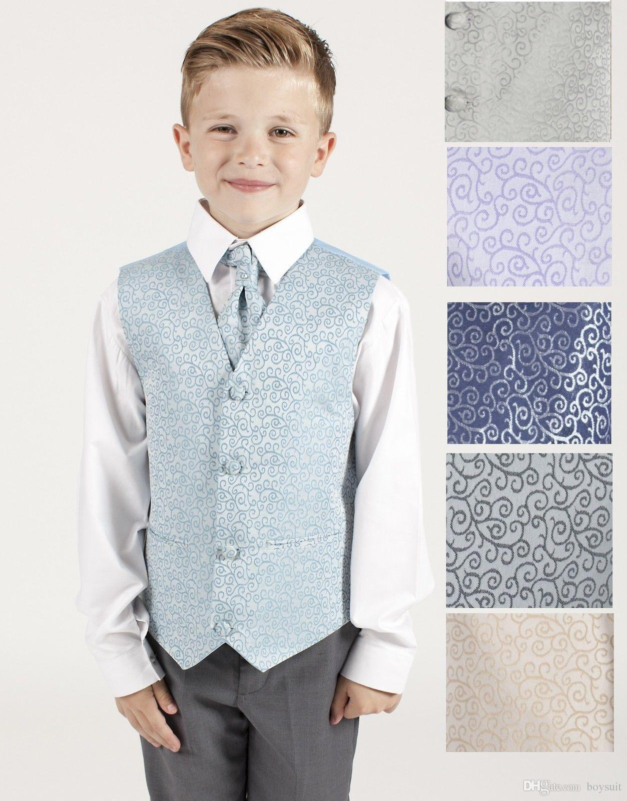 2018 Boys Suits Swirl Waistcoat Suits Wedding Baby Boys Page Boy ...