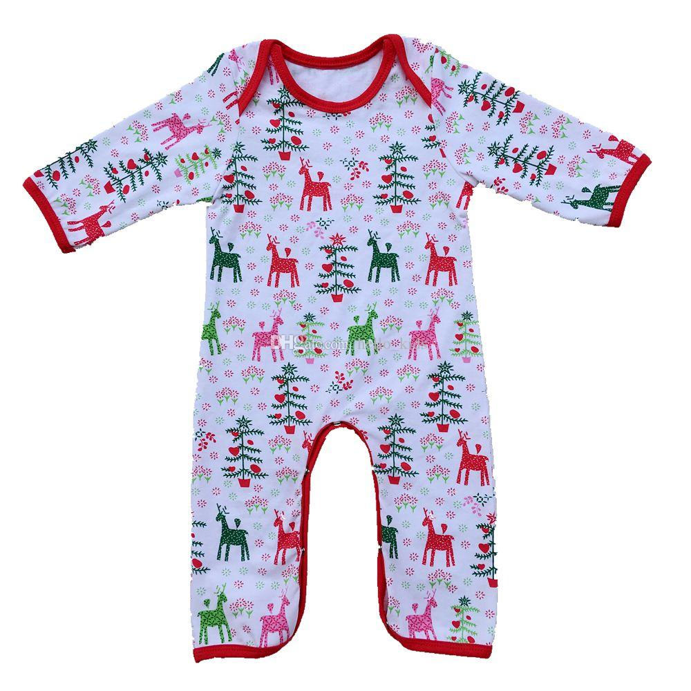 Outono Bebê Crianças Personalizado Pijama De Natal Completo de Natal recém-nascido Pijama Natal Romper Do Bebê Monograma Vestido Christma