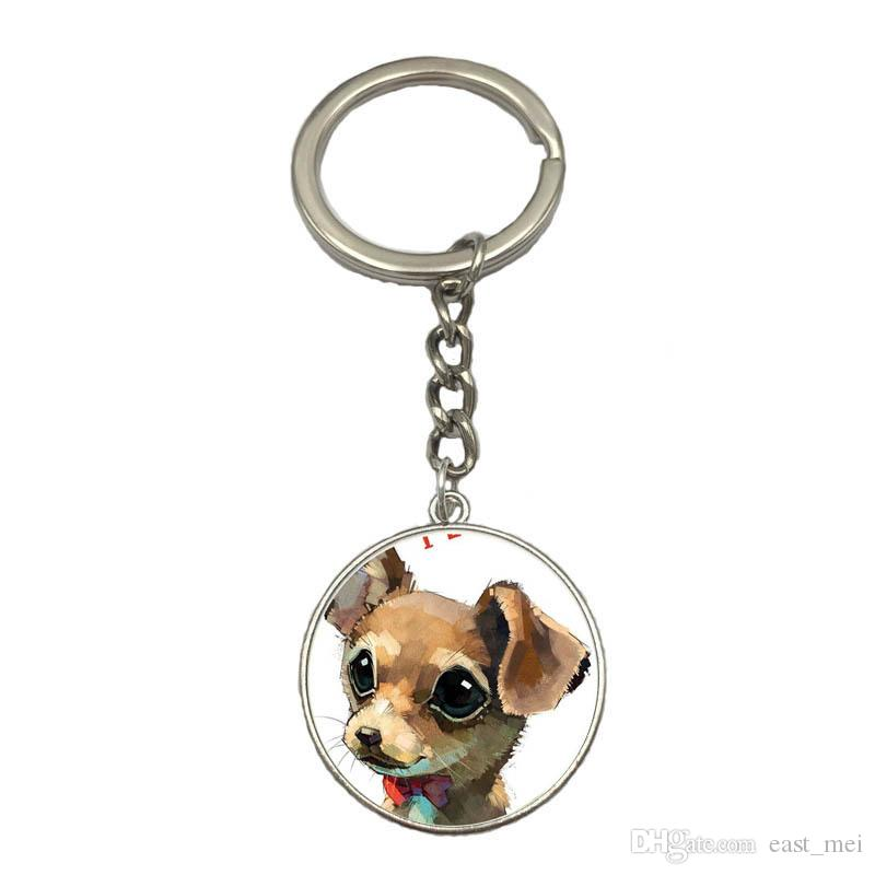 Best gift Pet dog Chihuahua Time Gem Glass Pendant Key Chain Alloy Keychain KR216 Keychains a