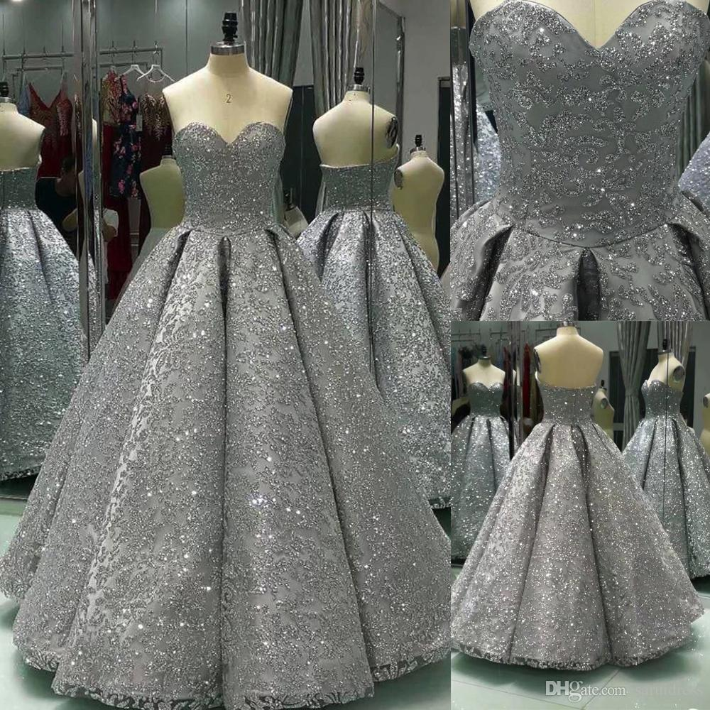 Silver Sequin Ball Gown Dresses