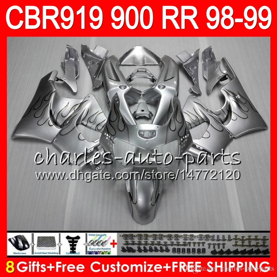 Body For HONDA CBR 919RR CBR900RR CBR919RR 1998 1999 68NO23 Silver flames CBR 900RR CBR919 RR CBR900 RR CBR 919 RR 98 99 Fairing kit 8Gifts