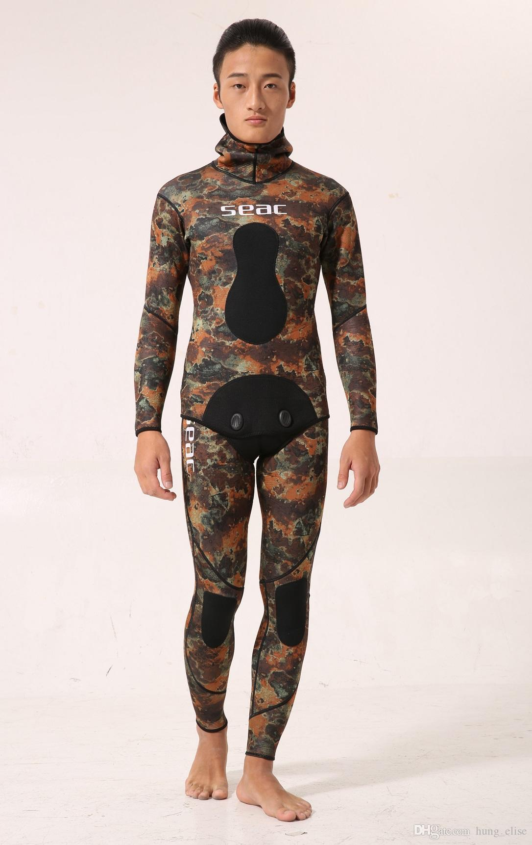 SEAC Mens Camo Stealth Neoprene Spearfishing Suits 3.5 Thickness Available  With Hooded Sealed Diving Spearfishing Wetsuits Wetsuit Online with   251.43 Set ... 8720ff08e