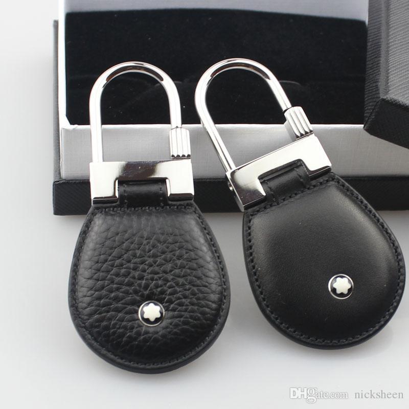 Gli uomini di lusso gioielli in acciaio inox moda in vera pelle portachiavi design portachiavi di alta qualità gli uomini regalo degli uomini con la scatola
