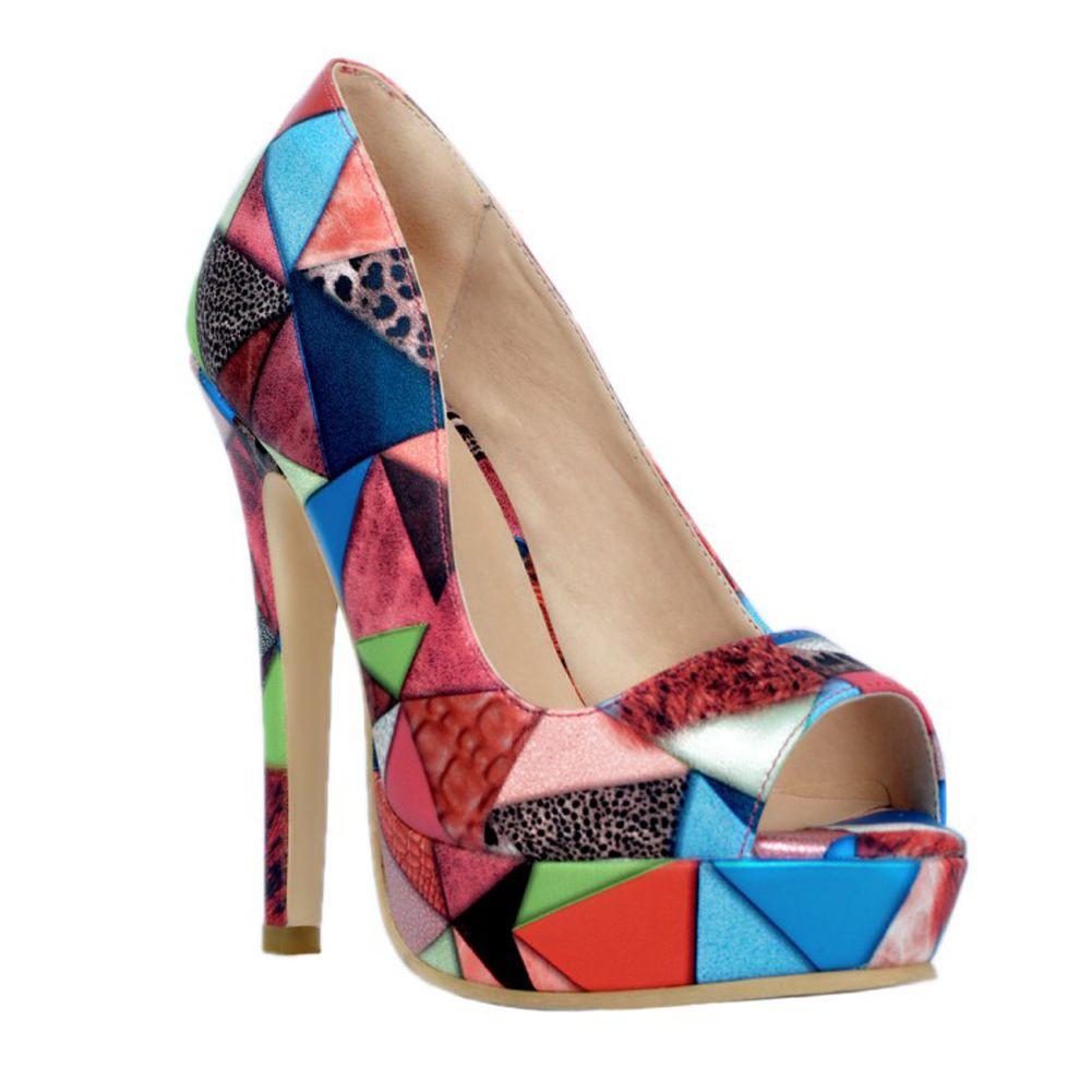 Zandina Meistverkaufte Damenmode Handgefertigte 13 cm Low-cut-plattform Patchwork Leder High Heels Party Schuhe Mixed XD040