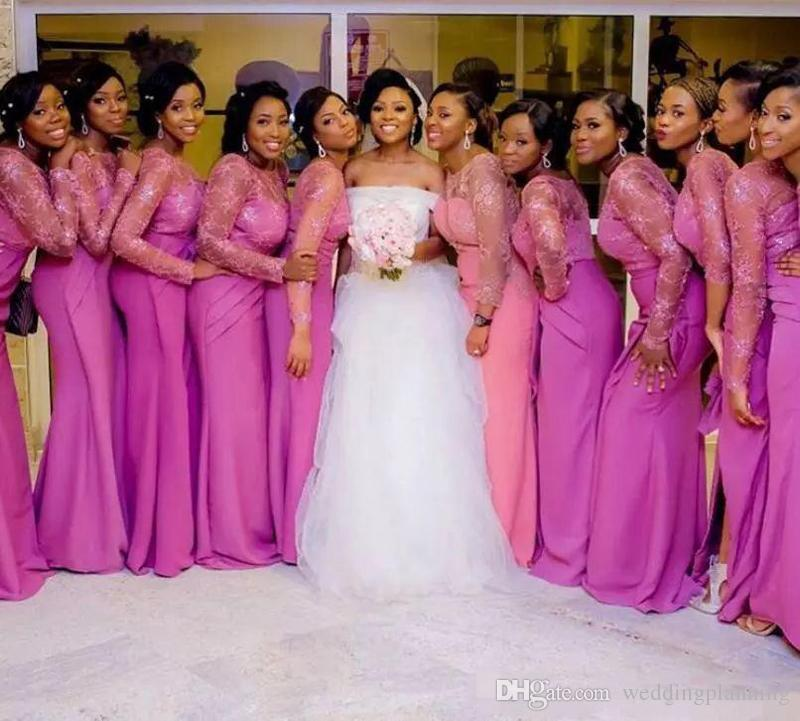 South African Sheer Neck Bridesmaid Dresses Appliques Fushia