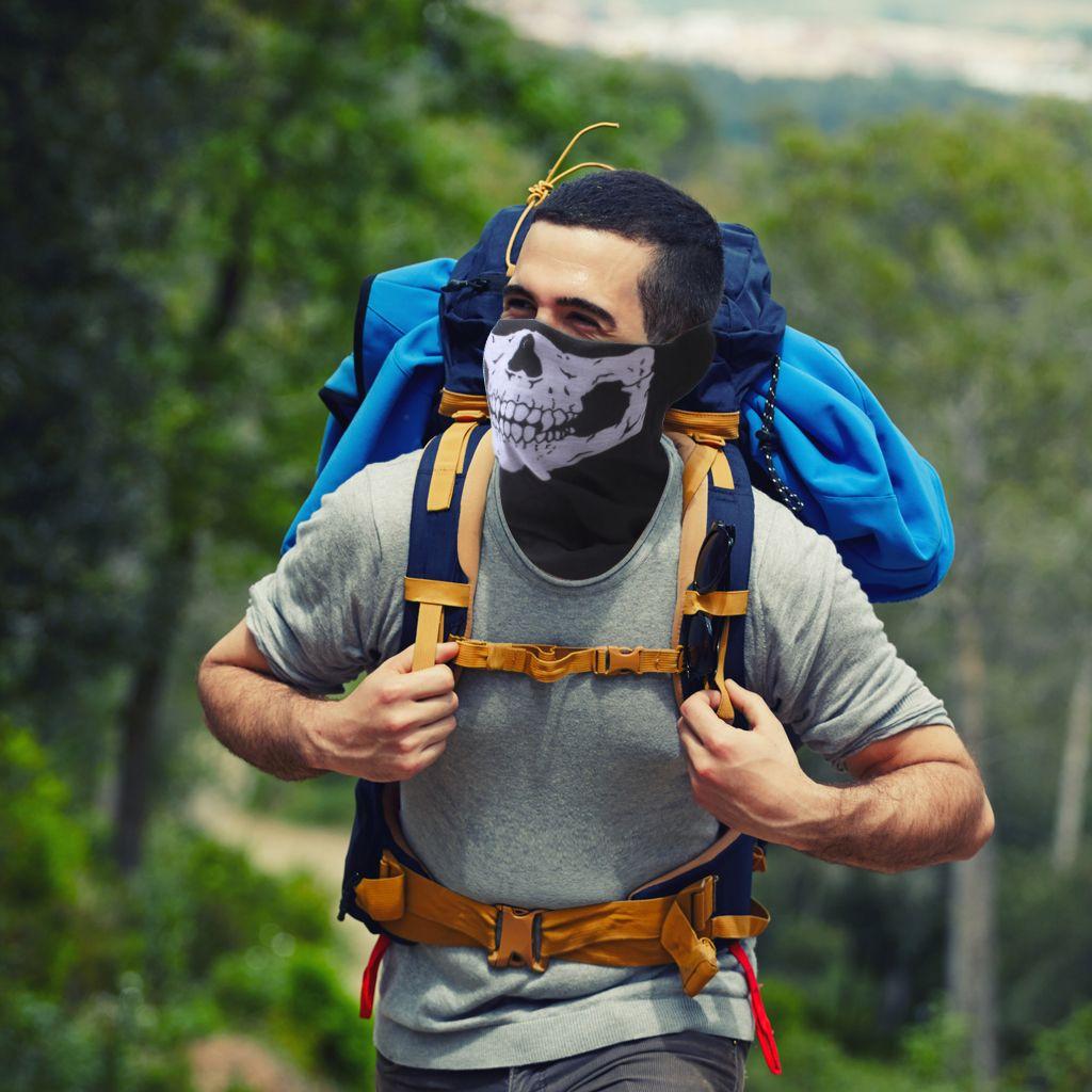 Skull Face Mask Neck Warmer Headwear Head Wrap Magic Scarf Balaclava Tube Bandana Skull Cap Helmet Liner Headband for Ski Snowboarding