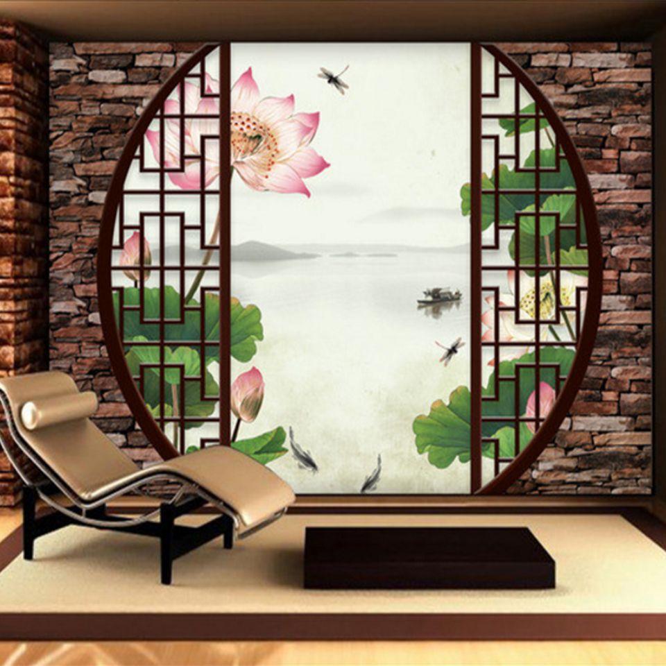 custom 3d mural wallpaper non woven chinese style retro 3d windowscustom 3d mural wallpaper non woven chinese style retro 3d windows lotus pond tv background living room bedroom wall murals