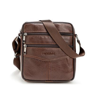 New Designer Genuine Leather Men Zipper Single Shoulder Messenger Bag Male  Fashion Casual Work Purse Popular Cow Leather Bag Black Brown Handbag Sale  Side ... f7b279302ced6