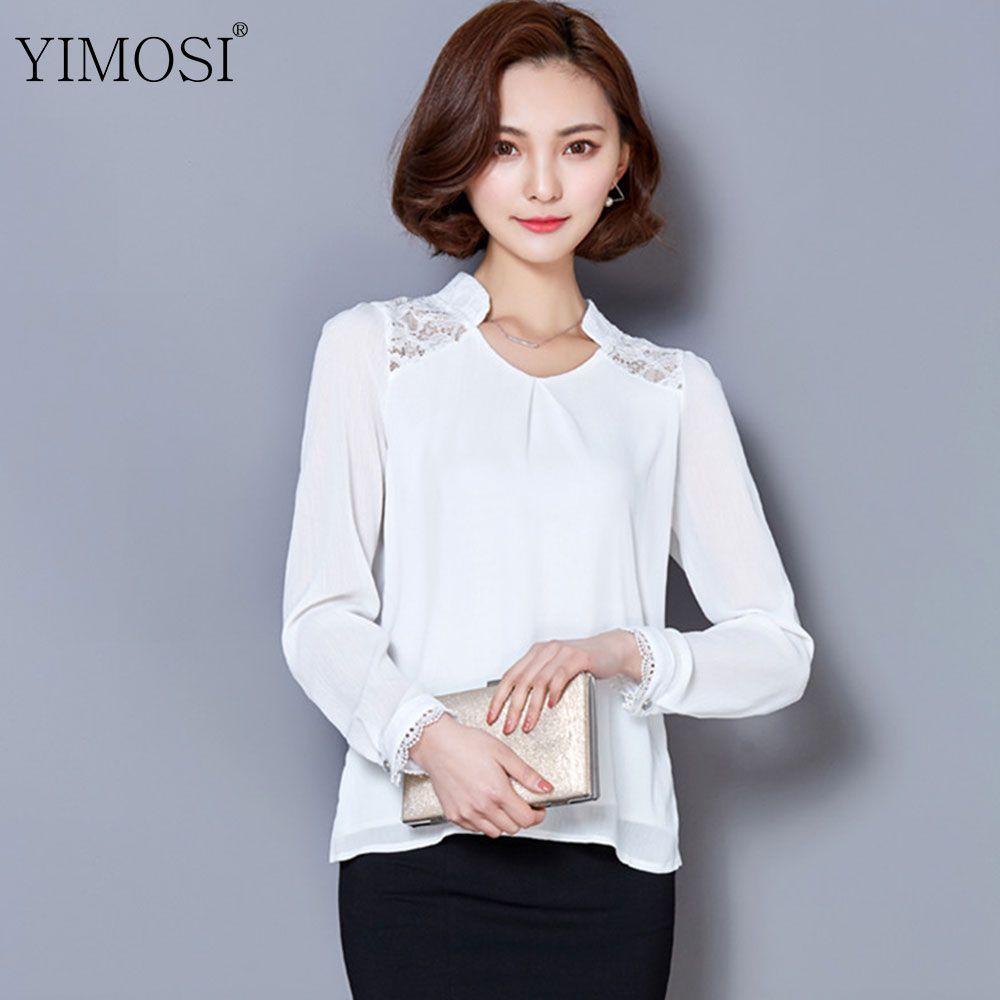 5808fb587f21 Großhandel Yimosi Frauen Blusen Spitze Chiffon Bluse Blusa 2017 Korean  Fashion Langarm Büro Shirts Plus Größe Weibliche Rosa Top   Lzx1922 Von  Abby0825, ...