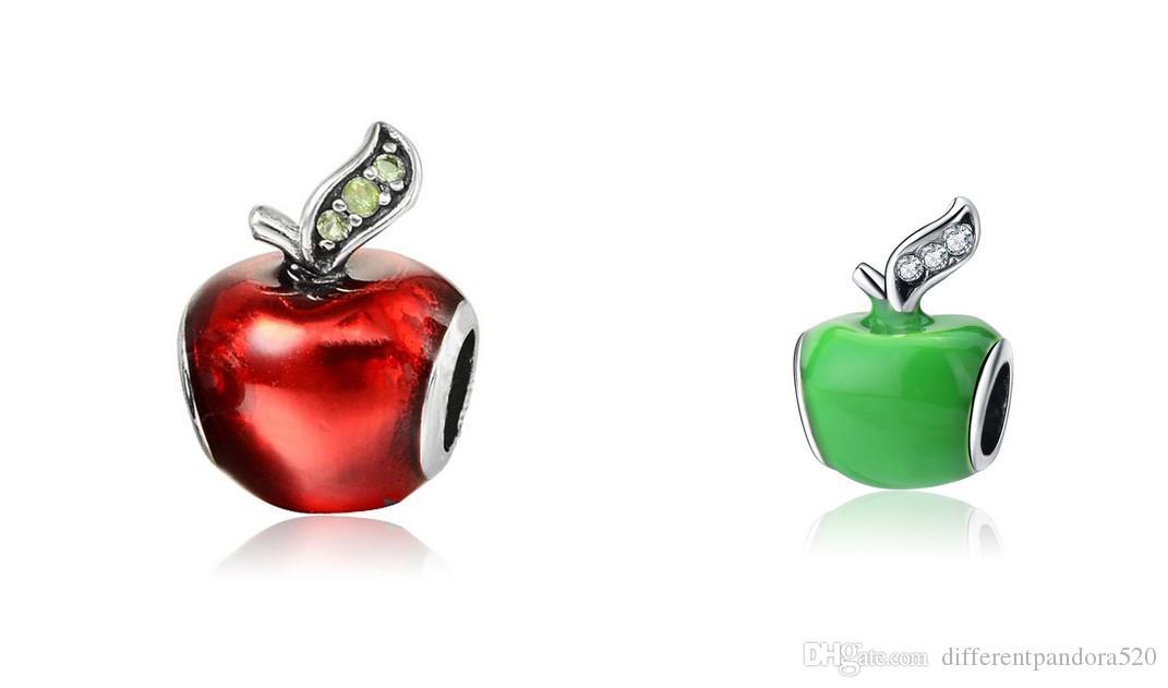 Se adapta a Pandora Pulseras Navidad Verde Manzana Verde Plata Charm Bead Barms Para Venta al por mayor Diy Collar Europeo Serpiente Pulsera de cadena