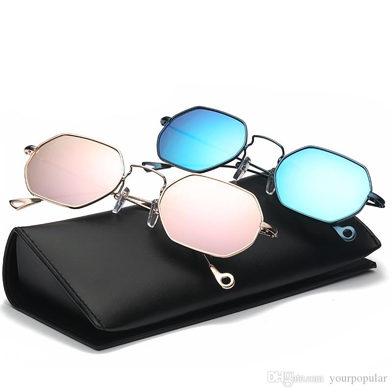 Compre Polígono Forma Aviador Gafas De Sol Mujeres Hombres Vintage ...