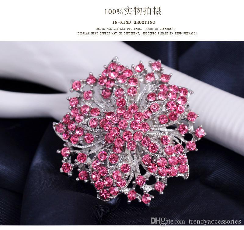 Розовый Горный Хрусталь Брошь Свадебные Свадебные Аксессуары Ювелирные Изделия Брошь PIN Розовый Брошь