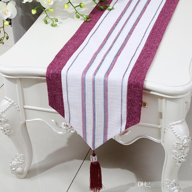 Streifen verlängern Patchwork Tischläufer Leinen Classic High End moderne einfache Kaffee Tischdecke Esstisch Schutzmatten Tischset 230x33