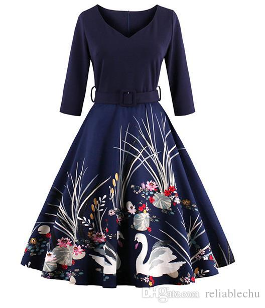 Swan Dress Lady Casual Female Retro Vintage Patchwork Printing Pleated Swan Pattern 3/4 Sleeve V Neck Woman Expansion Dress