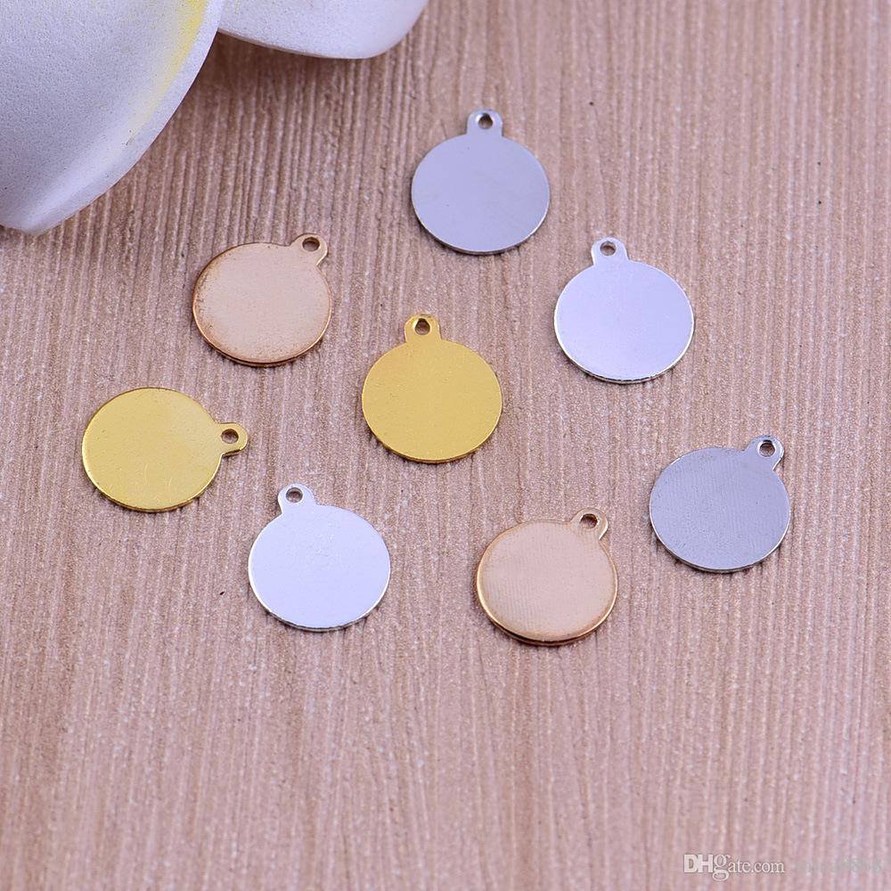 Atacado de Cobre Em Branco Estampando Etiquetas Encantos Rodada 4 cores de cobre rodada charme pingente para jóias artesanais DIY peças