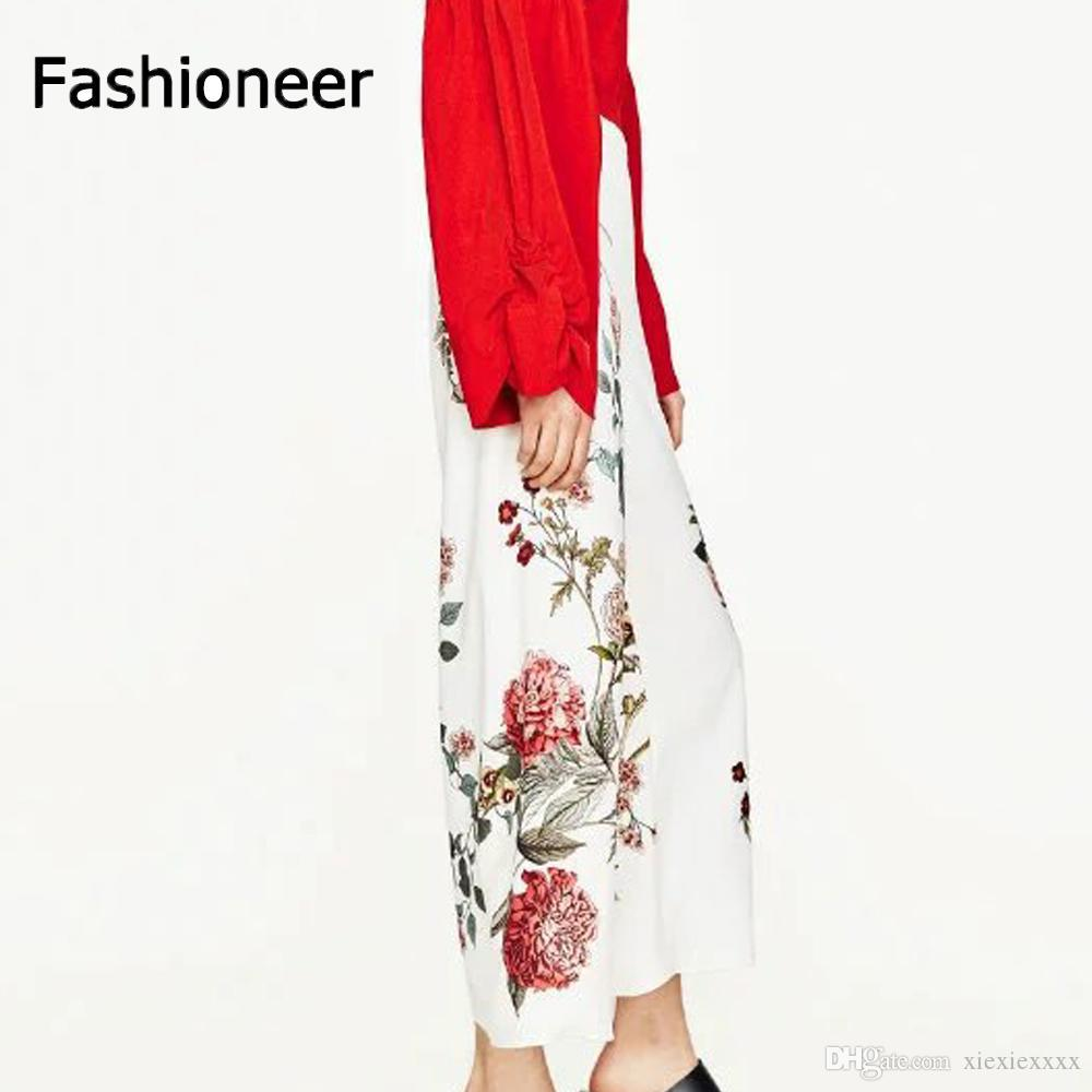 e5f029a673985 2018 Fashioneer Flare Pants Women Rose Printed High Waist Long Trousers  White Formal Office Plus Size Printed Dance Trousers Wide Leg Pants From  Xiexiexxxx