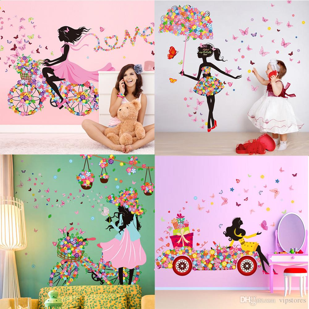 Diy Beautiful Girl Home Decor Wall Sticker Flower Fairy Wall Sticker Decals  Personality Butterfly Cartoon Wall Mural For Kidu0027S Room Wall Graphic Wall  ... Part 88