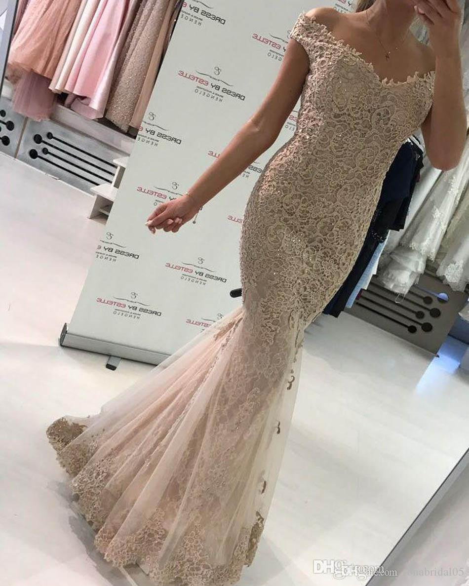 2017 Off Shoulder Mermaid Lace Evening Dress Sweep Train Special Occasion Formal Evening Gown Vestido De Festa Imported Party Dress