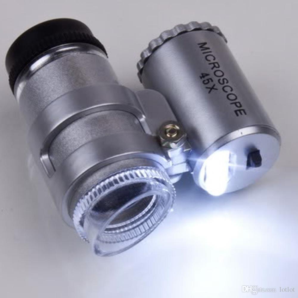 Mini microscope portable 45x ajustable avec microscope mini-loupe à 2 DEL avec fonction de vérification de billets