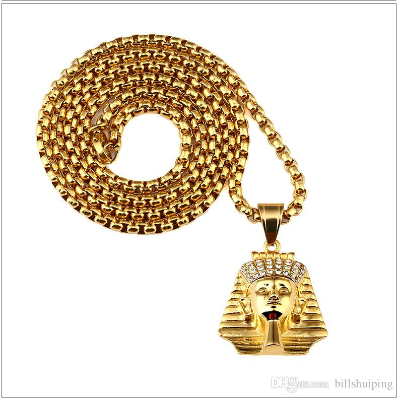 New Arrivals Hip Hop 18K Gold Plated Egypt Pharaoh Pattern Pendant Chain Necklace Fashion Jewelry for Women Men