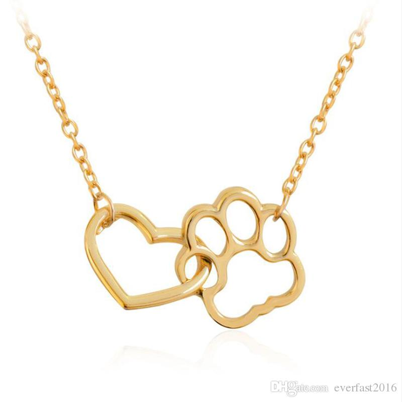 Wholesale hot selling fashion love heart with cat pawprint pendant wholesale hot selling fashion love heart with cat pawprint pendant necklace simple chain necklaces for charm women girls gift efn018 a gold heart pendant mozeypictures Images