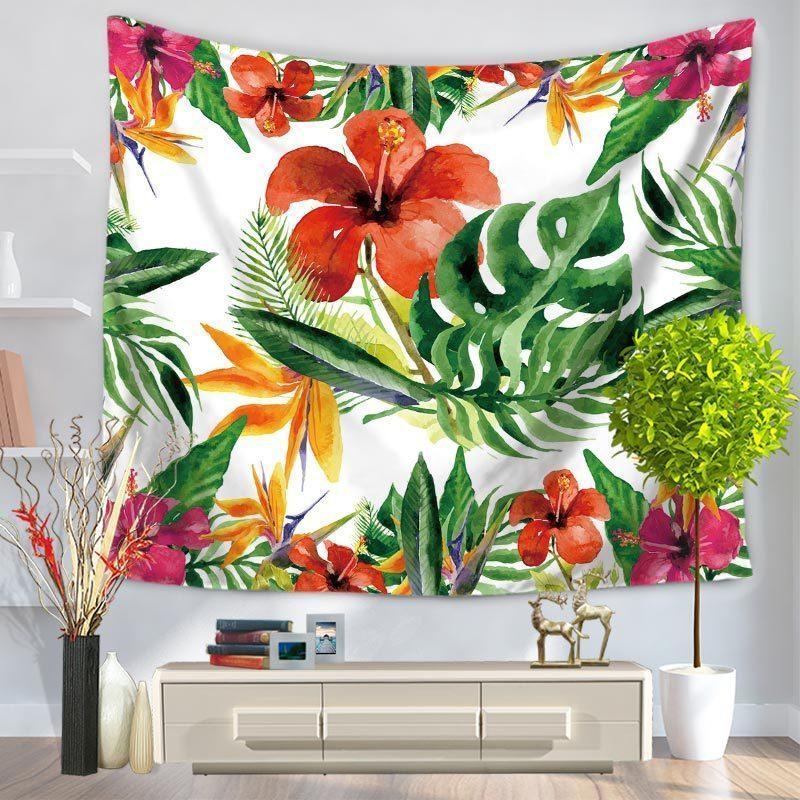 Banana Palm Tree Leaf Flower Printed Tapestry Wall Hanging Beach Bedspread Bed Blanket Cloth Tapestries Home Decoration Ceiling