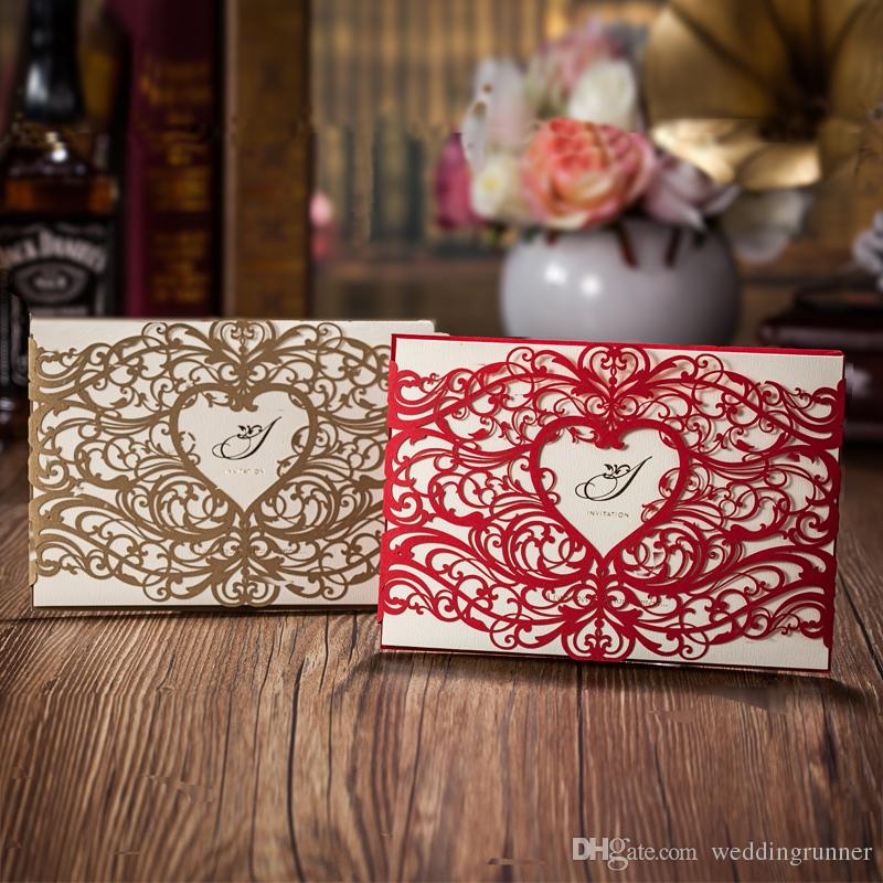 Gold Laser Cut Heart Shaped Wedding Invitations Cards Hollow Folded ...