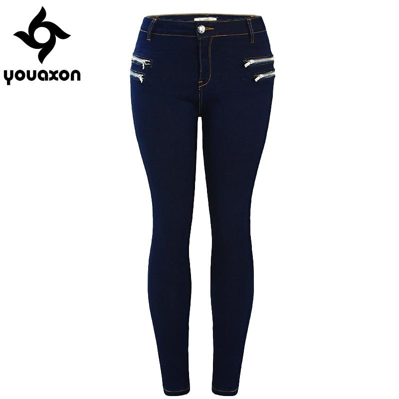 713cfaa5c22 2019 Wholesale 2020 Youaxon Women`s Fashion Plus Size Mid High Waist Ultra  Stretch Zip Decor Navy Blue True Denim Skinny Jeans For Woman From Baica