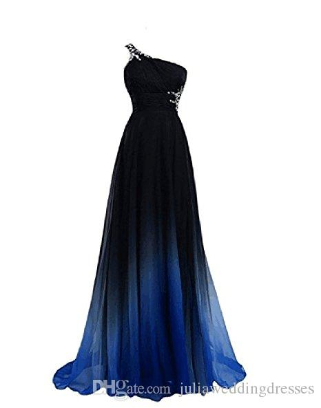 2017 New Gradient Chiffon One Shoulder Long Prom Dresses Beaded Floor-Length Evening Formal Long Party Gown QC438