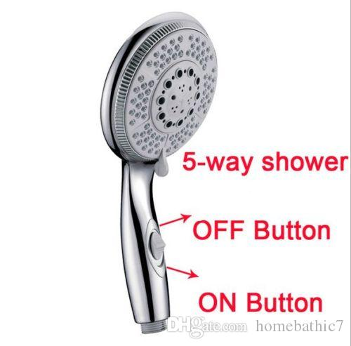5 Functions Massage Rainfall Round ABS Single Hand Held Shower Head With  Onu0026OFF Button Chrome Water Saving