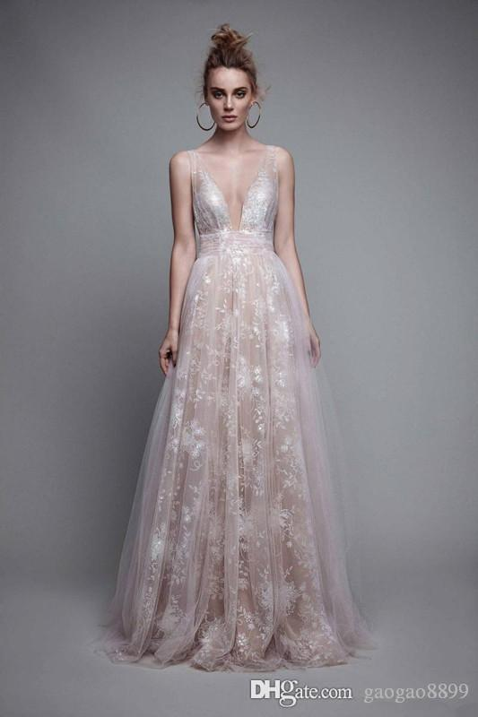 2019 Berta Lace Tulle Occasion Prom Party Dresses Deep V-neck Spaghetti Full length Modest Cheap Evening Formal Gowns