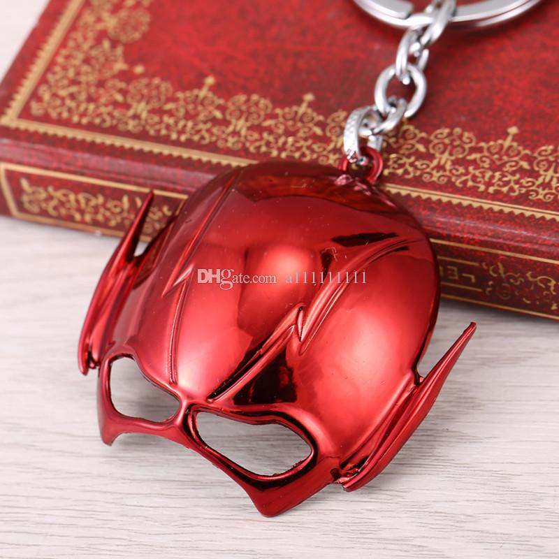 Superhero The Flash Mask Key Chain Metal Alloy Key Ring Personality Fashion Movie Jewelry Gift