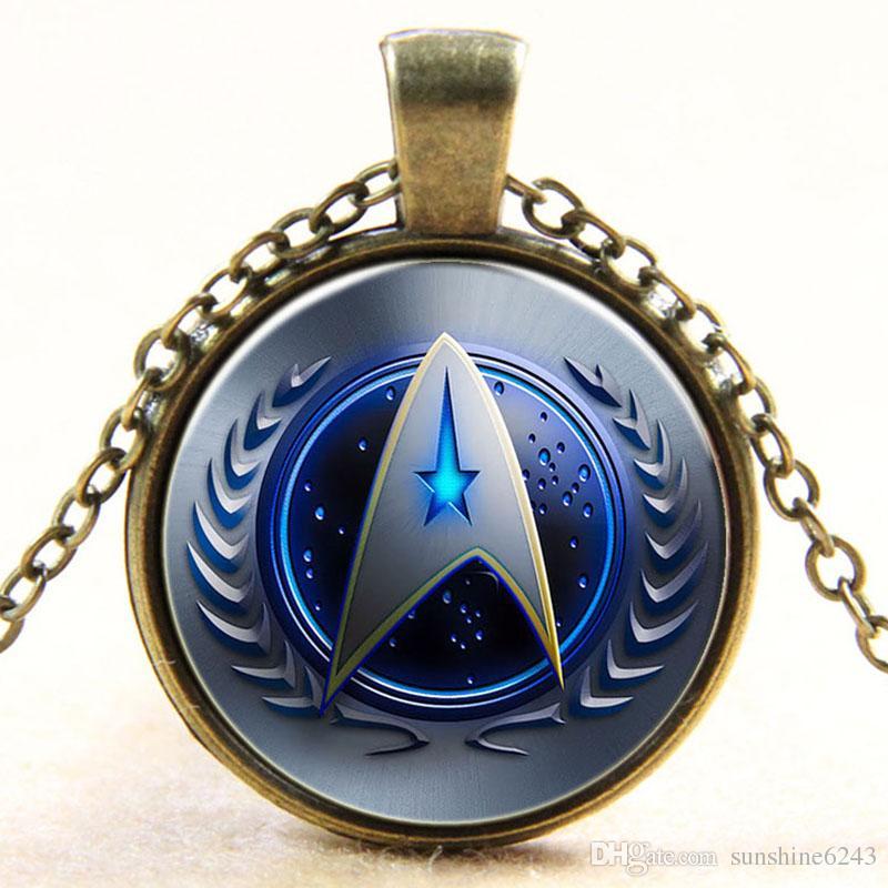 Atacado Cúpula De Vidro Cabochão 25mm Star Trek Colar De Vidro Cabochão Dome Pingente Retro colar de jóias frete grátis