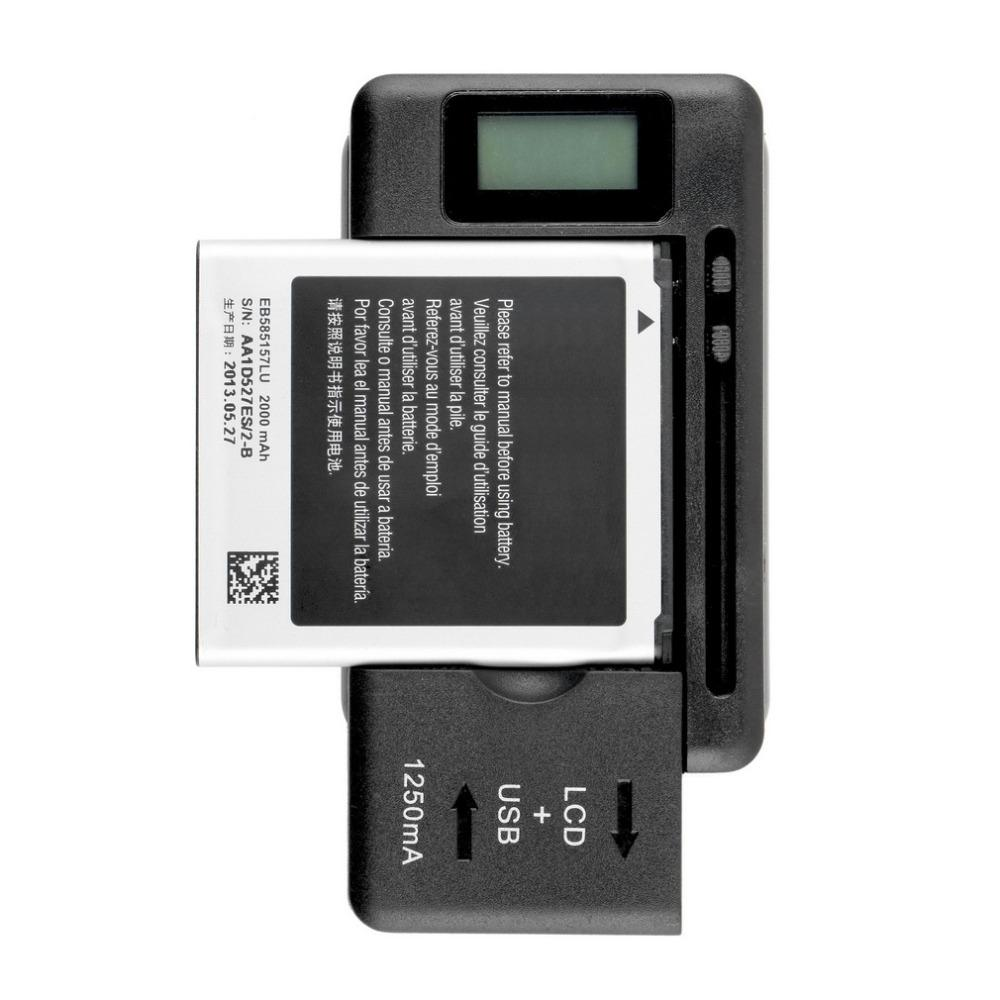 Wholesale-NEW Mobile Universal Battery Charger LCD Indicator Screen For Cell Phones USB-Port US Plug In stock!