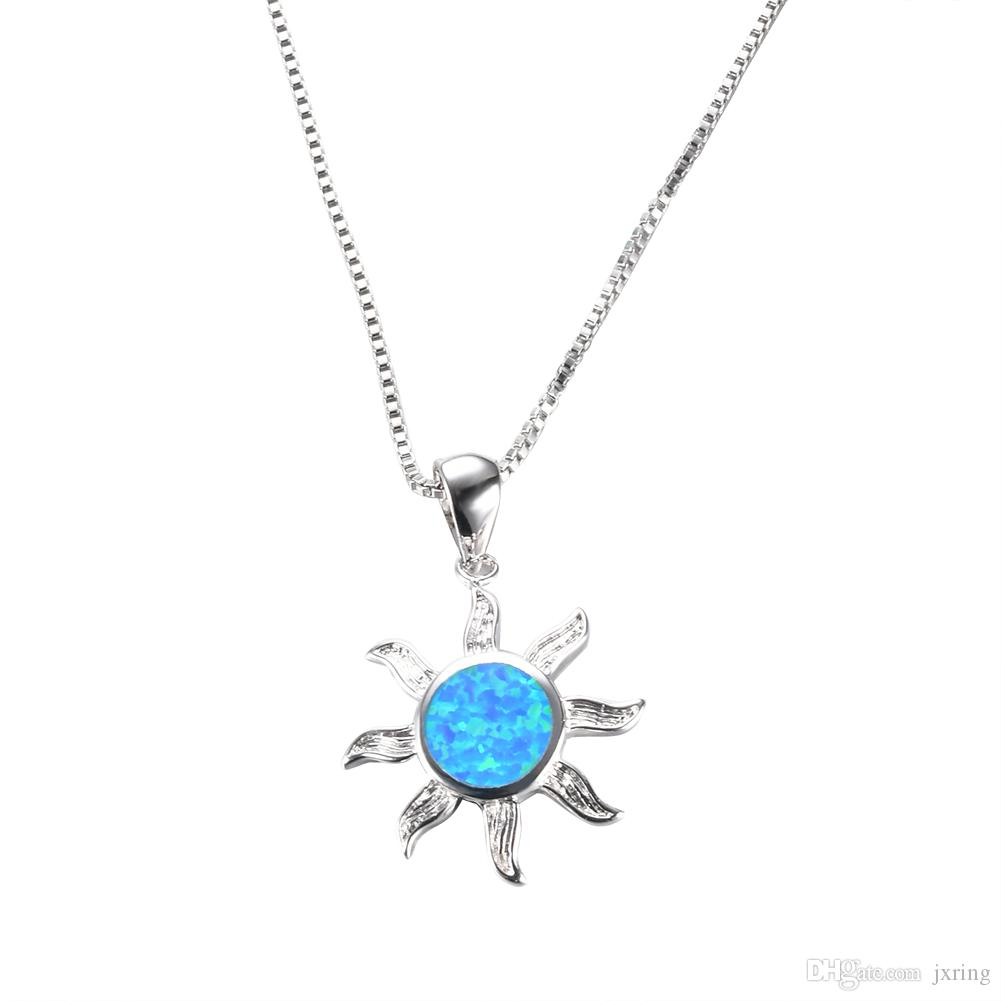 Wholesale charming sun design blue fire opal pendants necklaces for wholesale charming sun design blue fire opal pendants necklaces for women 925 sterling silver filled necklace gift fashion jewelry charms for bracelets mom aloadofball Choice Image