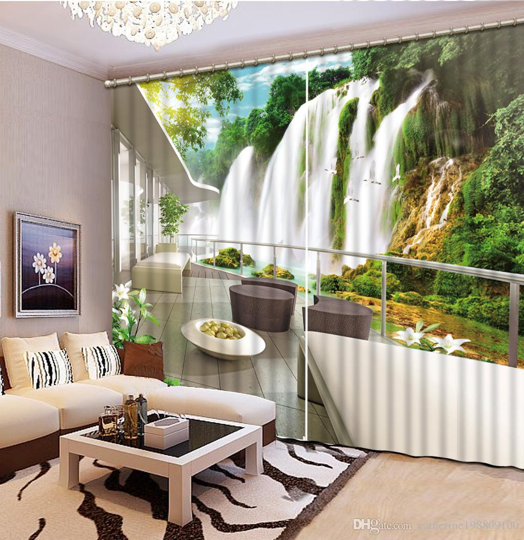 2019 Classic Home Decor Waterfall Nature Scnery Custom Curtain Fashion Decoration For Bedroom From Catherine198809100 32161