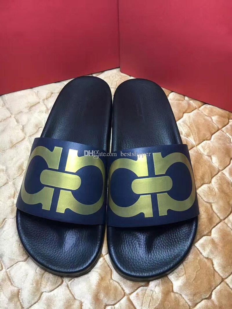 9d728cb59a34d Italy Sandals Mens Slippers Fashion Casual Flat Slide Sandals Red Blue  Black Gold Male Summer Leisure Outdoor Beach Slipper Rubber Sandal  Comfortable Shoes ...