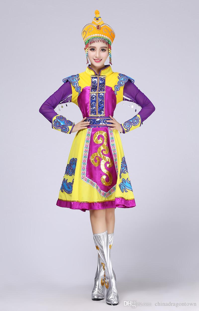 Chegada nova Violet vestido de ouro vestido Étnico Roupas de Dança Mongolian Senhoras roupas de palco Mongol Chinês traje de dança popular