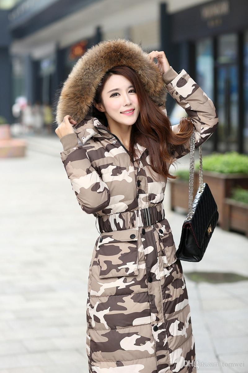 Plus Size Mulheres Longo Para Baixo Casaco de Inverno Casaco de Pato Para Baixo Parkas Com Capuz Real Raccoon Fur Outwear Neve Casaco Camuflagem 4XL
