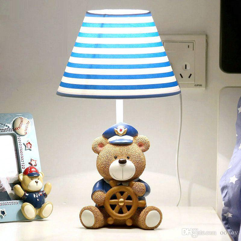 Cute Bear Captain Baby Room Table Lamp Cartoon Fabric Boy Girl Room Desk  Lamps Kidu0027s Bedroom Desk Lamps Cute Bear Captain Table Lamp Baby Room  Bedroom Desk ...