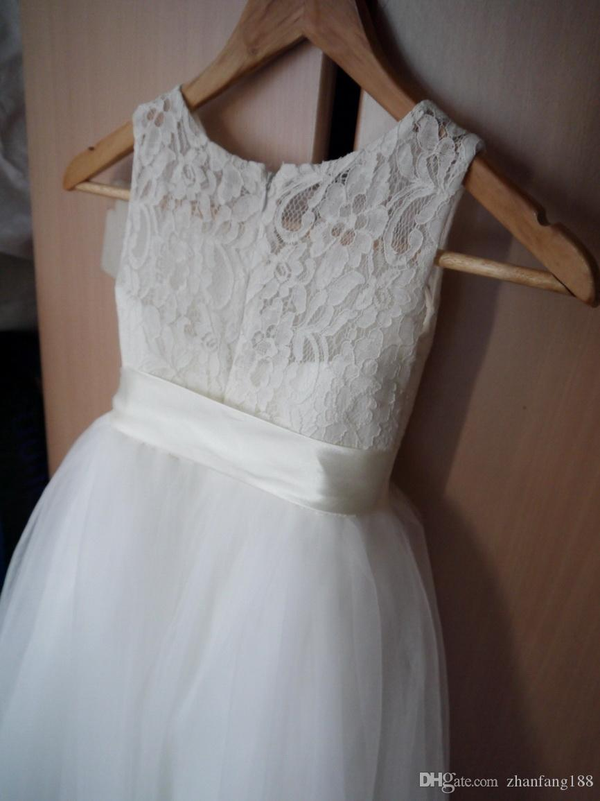 Flower Girl Dresses A-Line Long Lace Party Dress For girls 2-14 Years Robe Fille Lace Tulle White Flower Ggirl Dresses For Wedding