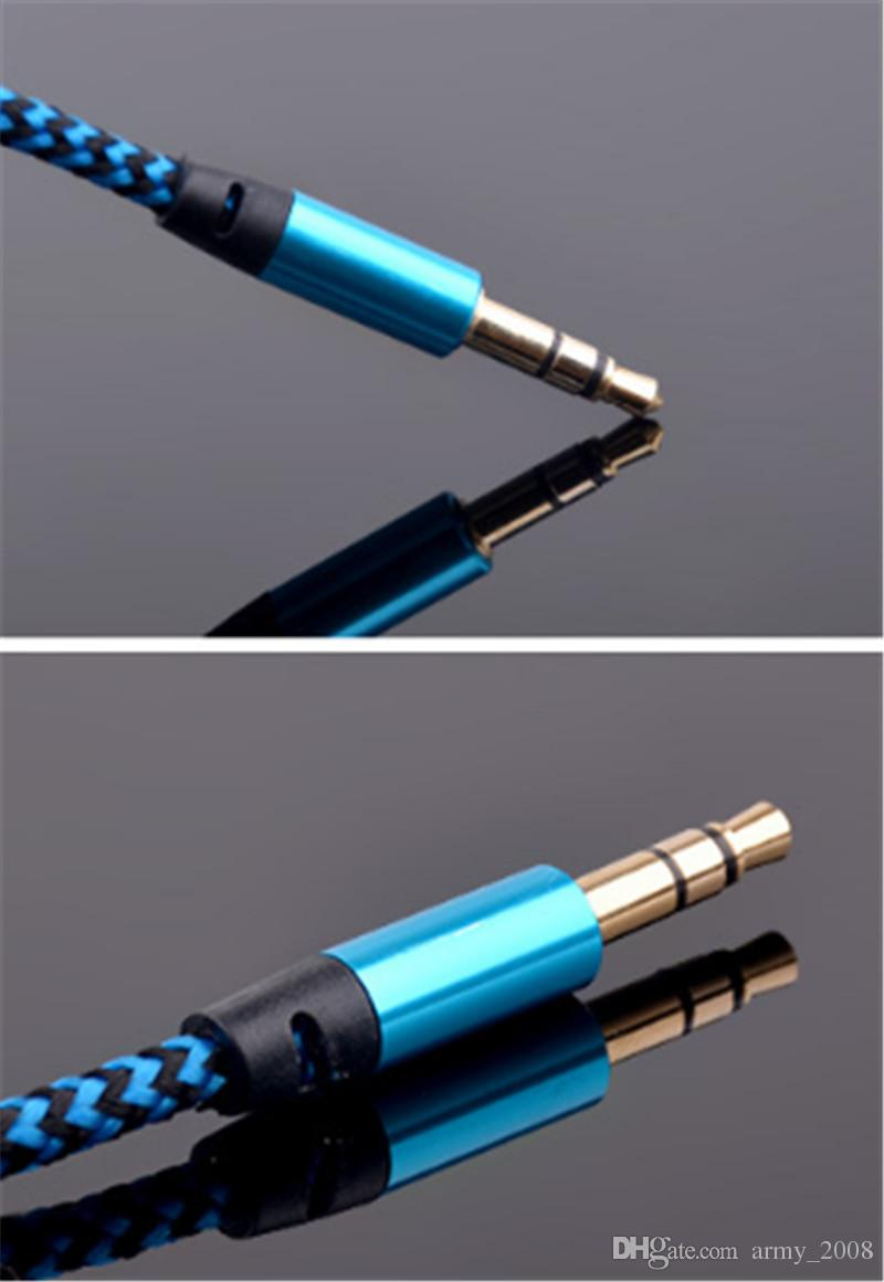 Braided Audio Auxiliary Cable 1m 3.5mm Wave AUX Extension Male to Male Stereo Car Nylon Cord Jack For Samsung phone PC MP3 Headphone Speaker